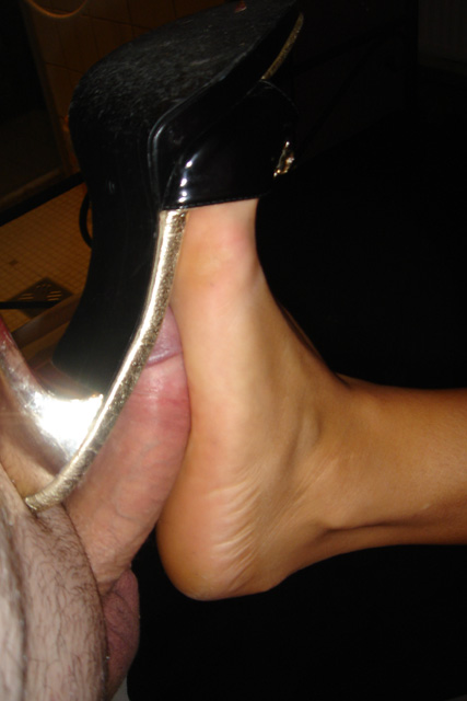 Foot fetish high heel mules